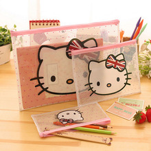 3pcs/lot Cute hello kitty Transparent A4 file folder bag Waterproof plastice bag with zipper file folder Office School Supplies(China (Mainland))