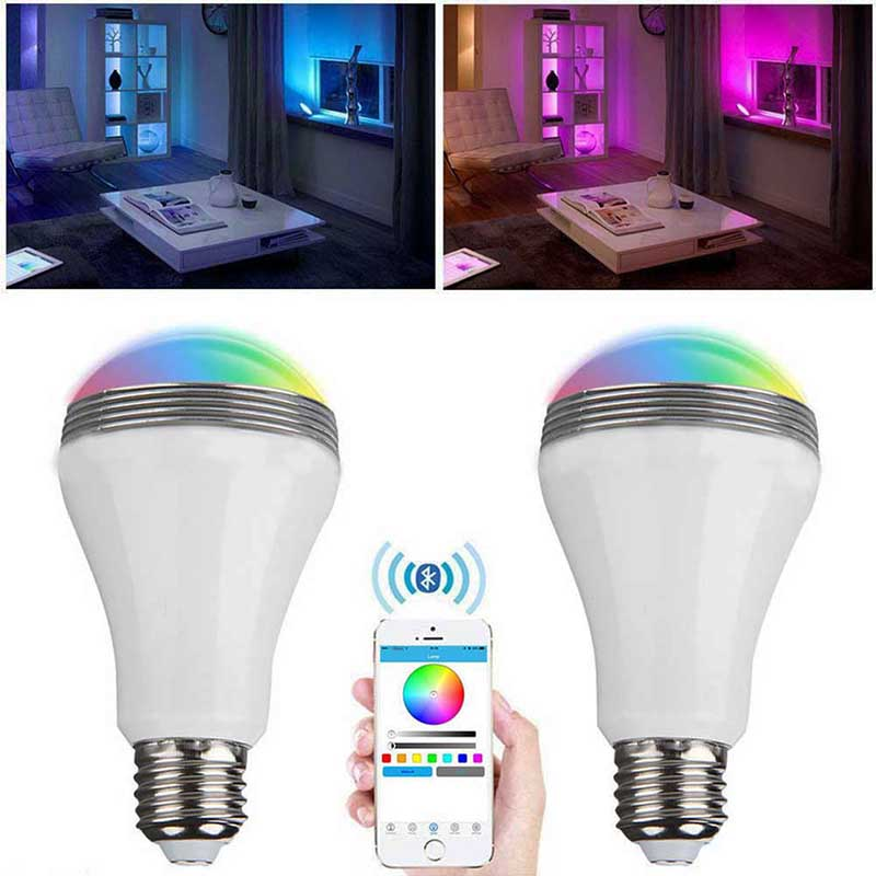 New Smart Wireless Bluetooth 4.0 Audio Speakers Lamp Dimmable E27 LED RGB Light Music Bulb Color Changing via WiFi App Control(China (Mainland))