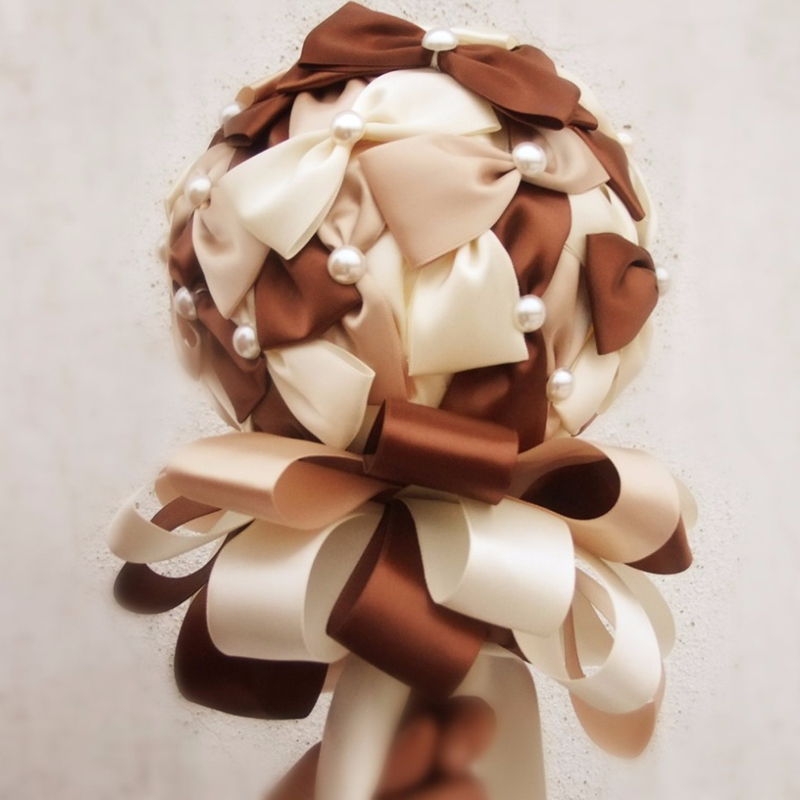 Luxury Weding supplies Pearl Bridge Bow Weding decoration Holding flowers Bouquets Article flower Coffee  High-grade Mini 18cm