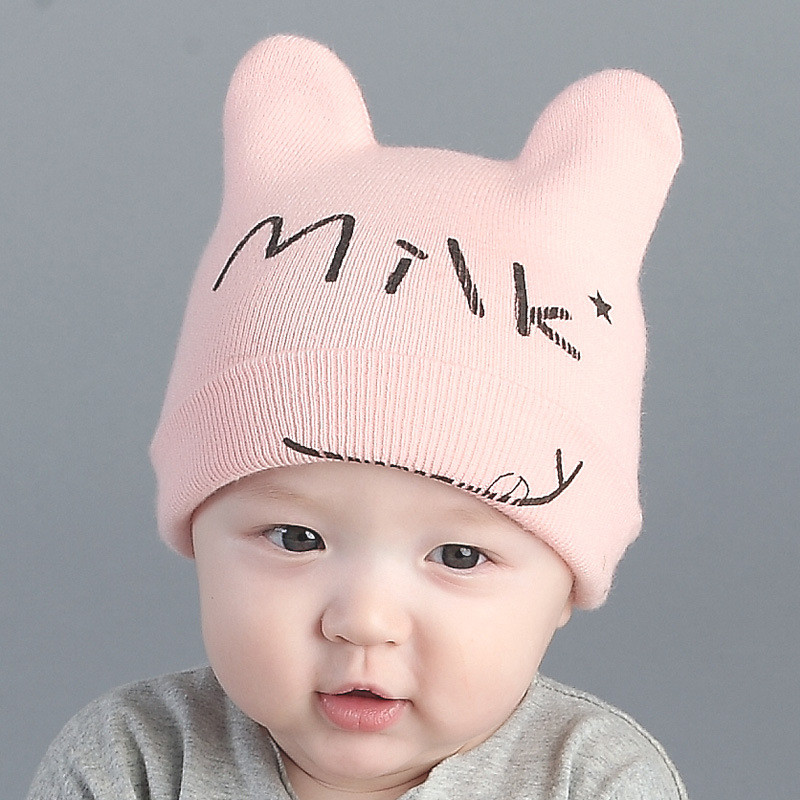2016 New Autumn Winter Baby Boys Girls Knit Hats Letter Milk Pattern Crochet Beanie Newborn Infant Caps Horns Christmas Costume()