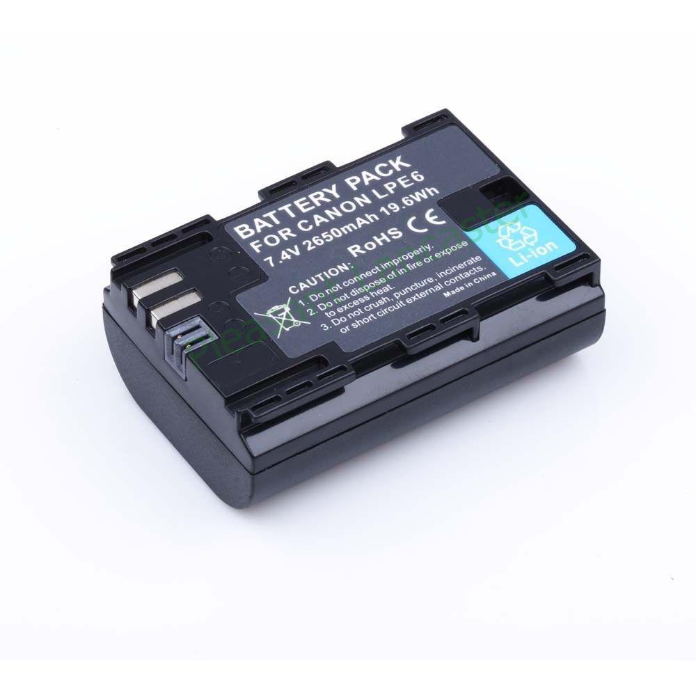 Hot sell 2pcs LP E6 LP E6 LPE6 2650mAh Camera Batteries For Canon 5D Mark II