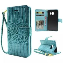 Luxury Wallet Case For Samsung Galaxy S6 Edge G9250 Pouch Crocodile Leather Hand Strap Flip Cover For Samsung S6 Edge phone Bags(China (Mainland))