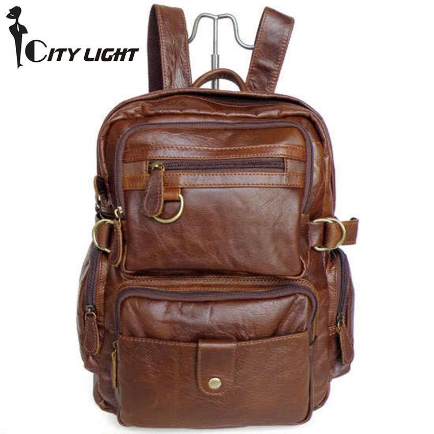 2015 new Unisex Large capacity 100% Genuine Leather Backpack Travel Bags School bag Mountaineering bag! 7042 freeshipping<br>