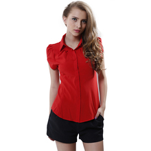 Summer Lady Office Tops New Butterfly Short Sleeve Turn-Down Collar Women Blouses OL Women's Chiffon Blouse Shirts(China (Mainland))