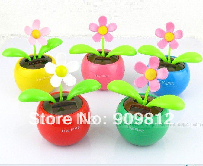 Free Shipping Solar apple flower, Flip flap solar flower, Swing sunflowers, Solar Toy, Car accessories, 5 color 65g 50pcs/lot(China (Mainland))