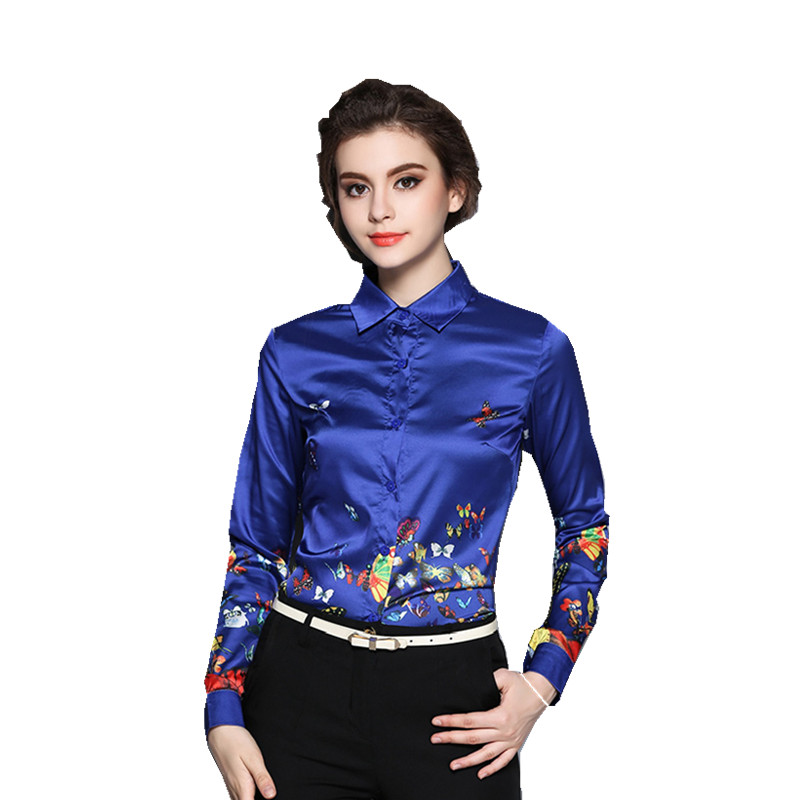 New font b Women b font Elegant Office Shirts 2016 Autumn Top Fashion Print Long Sleeve