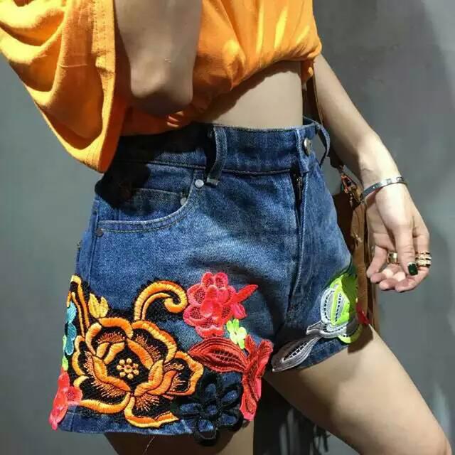 2016 летние короткие джинсы женские цветок вышивка кружева с коротким джинсы высокая ...