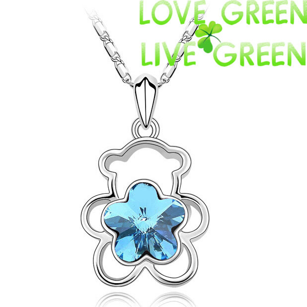 2014 new wholesales Free Shipping high quality import austrian Crystal flower bear Pendant Necklace chain fashion jewelry 80022(China (Mainland))