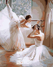 Frameless Pictures Painting By Numbers Digital Oil Painting On Canvas Decorative Picture-balet Dancer Wall Sticker G400(China (Mainland))