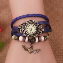 Envío gratis – la nueva vendimia del cuarzo mujeres se visten Watchs tree corazón colgante de cuero sintético reloj reloj de lujo