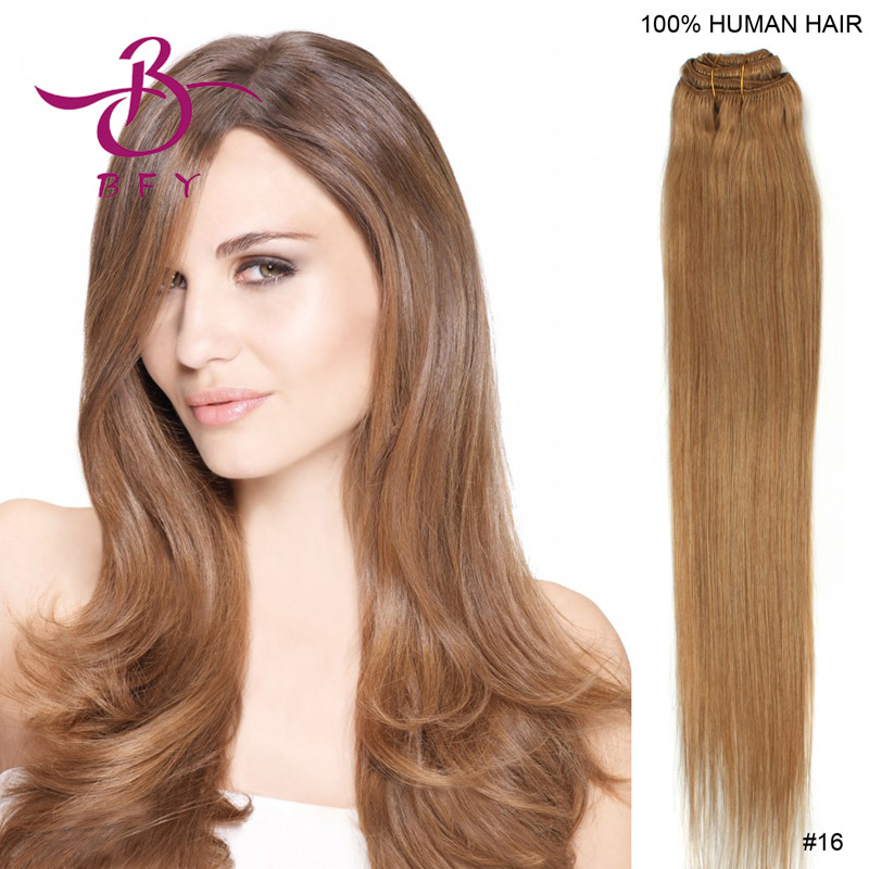 18inch-45cm Clips on in Indian remy hair extensions #16 Strawberry blonde color 80gram including 7pcs/set<br><br>Aliexpress