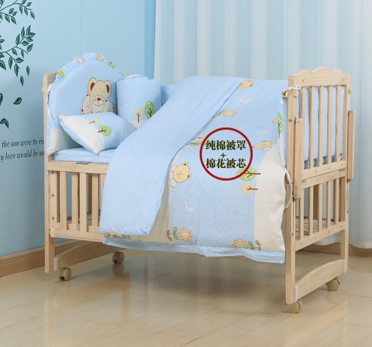 Promotion! 10PCS Baby Bedding Crib Sets Cotton Bed Around All-inclusive Package Washable Around (bumpers+matress+pillow+duvet)<br><br>Aliexpress