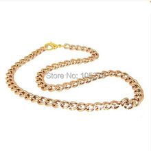 New Arriver Newest Shiny Cut Rose Gold Plated Chunky Aluminium Curb Chain Necklace 18'' 8-10mm Fashion Jewelry Wholesale(China (Mainland))
