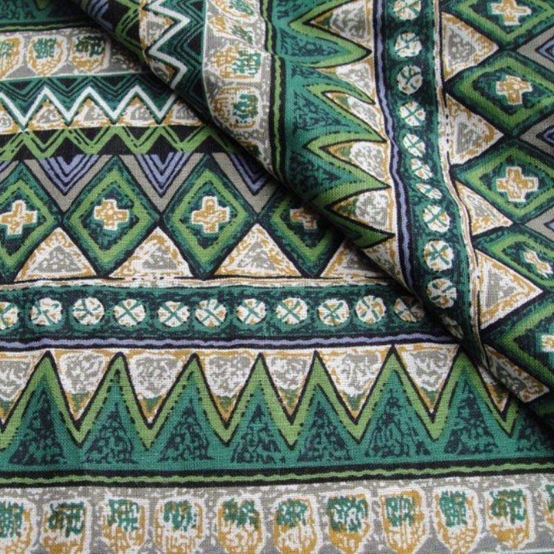 1 м зеленый богемия волна стиль хлопок белье набойки этническая ручной DIY лоскутное пэчворк скатерть ткань для ремесел