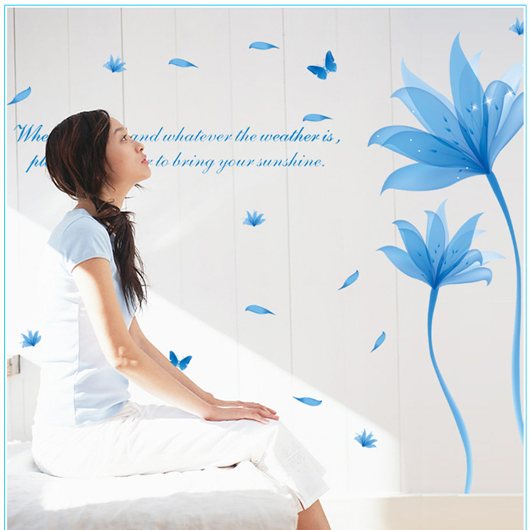 It is waterproof the sitting room is the study of classical Chinese wind wall stick fashion crystal lotus blue butterfly(China (Mainland))