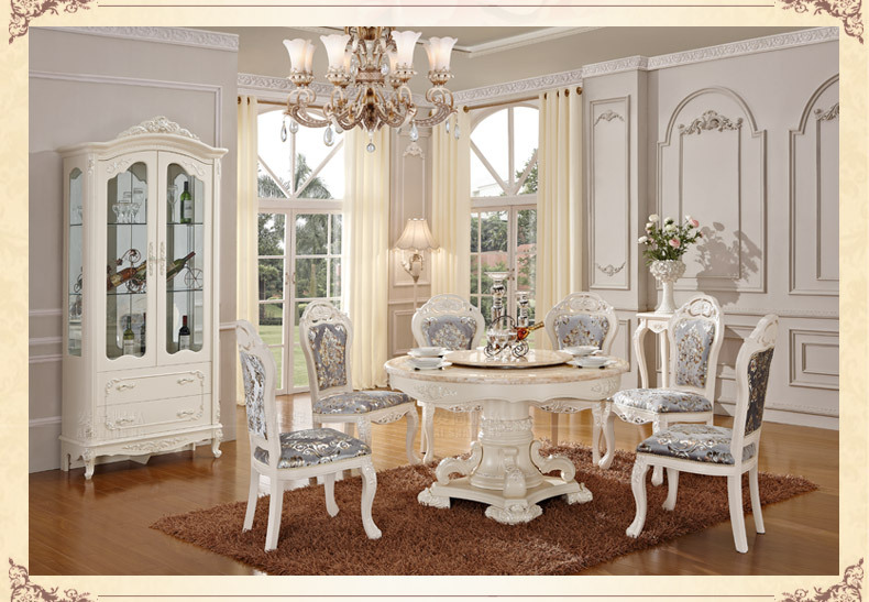 Luxury wooden ding table and chair, white color dining sets,classical dining table dining room furniture(China (Mainland))