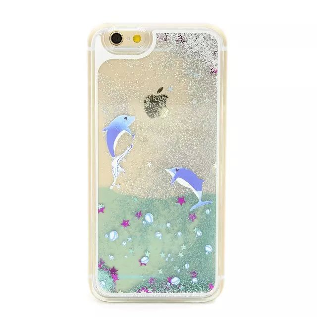 Ocean Dolphins Print Liquid Quicksand Silver Glitter Stars Cover Case For iPhone 5 5S 6 6S 4 4S 5C 6 PLUS 6S PLUS(China (Mainland))