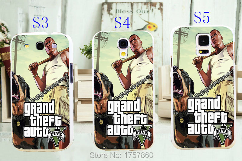 1pcs gta 5 poster grand theft auto Game hard white Skin Case for Galaxy Samsung S3 S4 S5 I9300 I9500 I9600 Retail(China (Mainland))