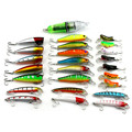 25 Pcs Pack Mixed 4 Style Fishing Lures Set Led Light Minnow Popper Grasshopper Insect Lure