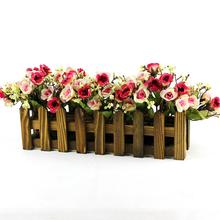 Mastone Vintage Wood Garden Pots Flower Planter Wood Fence Planter Tray Garden Artificial Vase(China (Mainland))