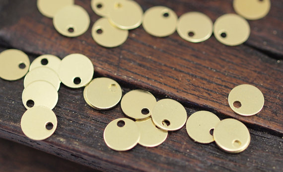 100 pcs Raw Brass Round Tags, Charms, Findings, Stamping Tag (6 mm) brs79(China (Mainland))