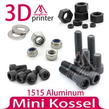 Mini Kossel Delta Robot 3D Printer Fasteners Set Nuts & Bolts Screw Full Kit for 1515 Aluminum Extrusion Frame