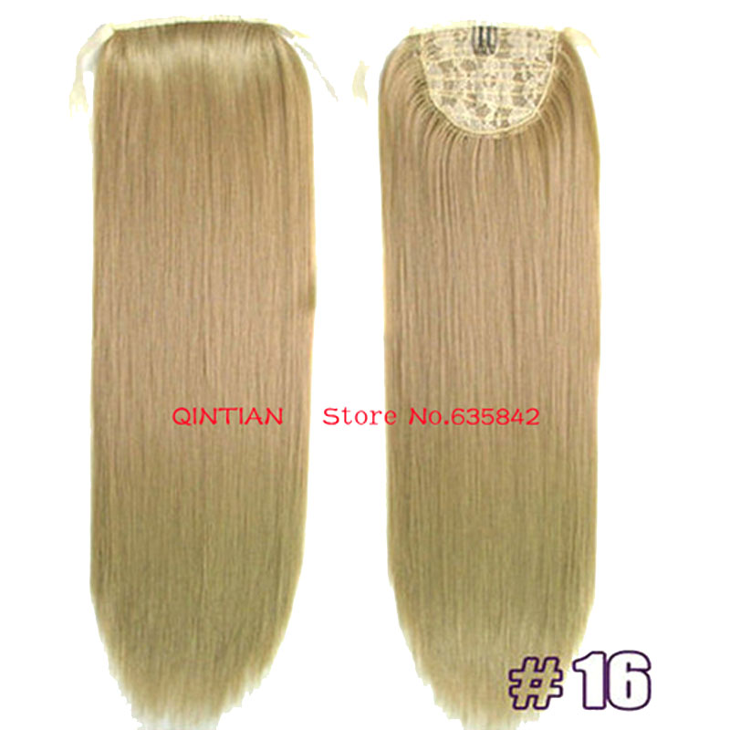 free shipping 1 set 22(55cm) 90g long straight hair ribbon synthetic ponytail extensions color #16 Ash Blonde<br><br>Aliexpress