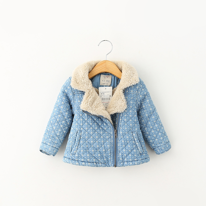 Baby Girls Denim Outerwear Fashion Korean Pockets Jackets Kids Autumn Zipper Thickened Print Coat Children Clothing 5pcs/LOT<br><br>Aliexpress