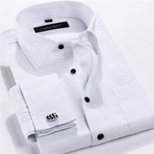 Buy Men French Cufflinks Shirt 2016 New Men's Shirt Long Sleeve Casual Male Brand Shirts Slim Fit French Cuff Dress Shirts Men for $14.24 in AliExpress store