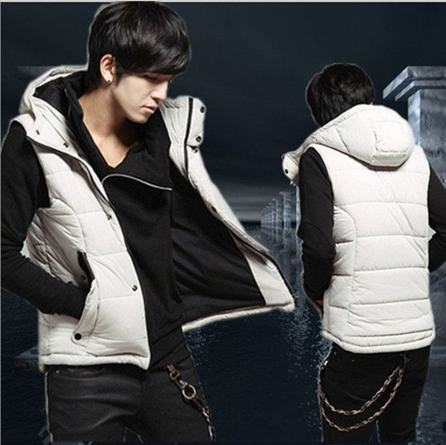 Free Shipping Fashion Down Vest Jacket For Man Down Vest Black/White 90% Down Warm Men's Sleeveless Hoody Vest High Quality