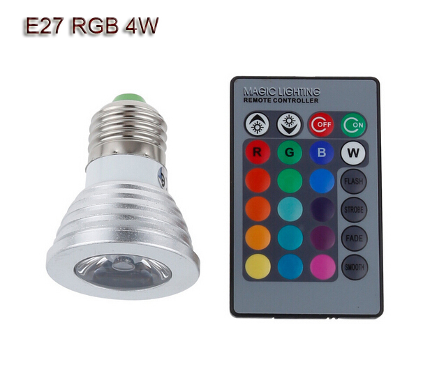 5x E27 4W spotlight RGB lamp led 12V dimmable light spot bulb bombilla foco lampara luces lampen ampoule lampadine 16 color(China (Mainland))