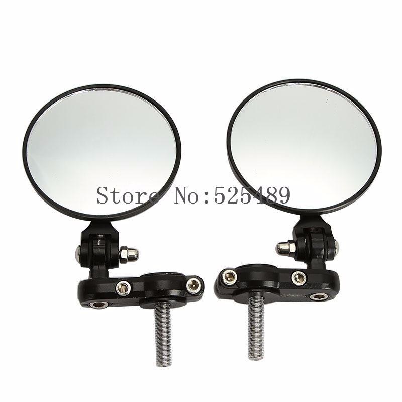 Black 2x Universal Adjustable Motorcycle Rearview Mirror 7/8″ 22mm Handlebar End Motocross Motorbike Scooter Bicycle Side Mirror