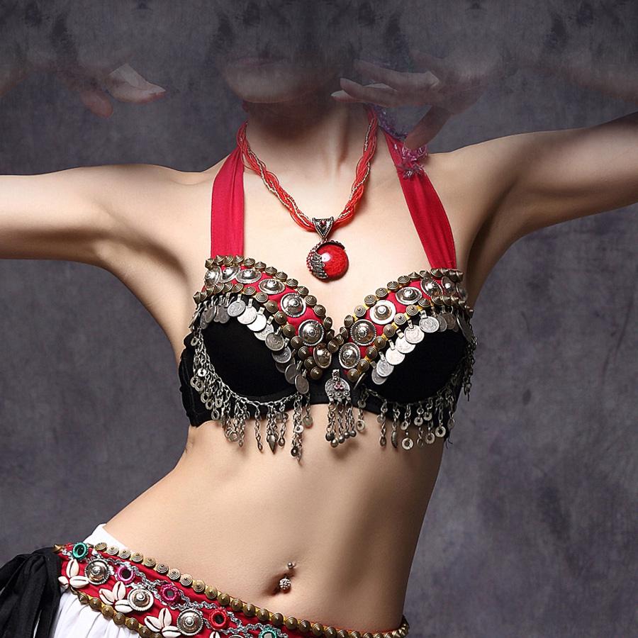 New 2016 Vintage ATS Tribal Belly Dance Bra Tops Metallic Studs Push Up BeadsBra B/C CUP Coins Top Gypsy Dance Bra(China (Mainland))