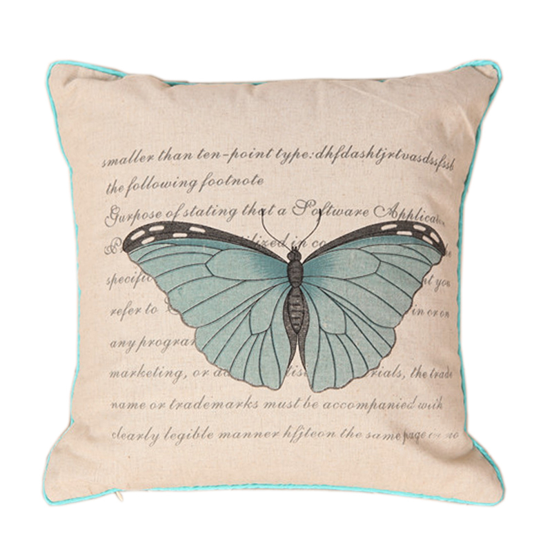High Quality Blue Butterfly Linen Cotton Cushion Covers For Sofa Car Bed Throw Pillows Decorate Case Home Textile(China (Mainland))