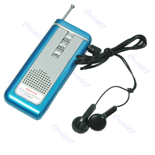 Hot Blue Portable Belt Clip Auto Scan FM Radio Receiver With Flashlight Earphone