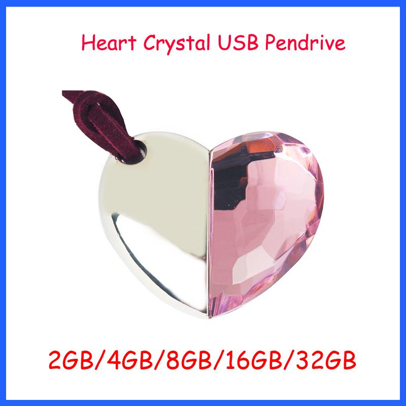 Free Shipping ! Jewelry Crystal Heart USB Flash Drive 2GB 4GB 8GB 16GB 32GB High Speed usb2.0 flash memory necklace usb pendrive(China (Mainland))