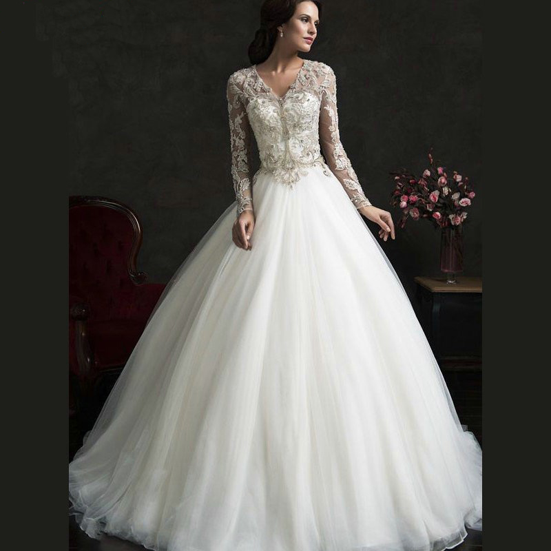 vintage lace bridal dresses with pearl v neck beading