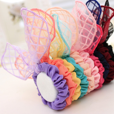 Kids Acessorios Infantis Headband 9007 Korean Jewelry Wholesale Gauze Tartan Ribbon Bow Scrunch Rabbit Ear Hair Rope Accessories(China (Mainland))