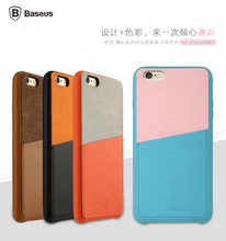 Original Baseus Fashion Card Holder 4 Color Leather Back Mobile Phone Bags Case for iphone 6 plus/6s plus Cover