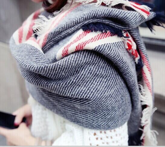 Burr Гарри Поттер полосатый шарф теплый женский супер длинный шарф шаль двойной воротник подарок на новый год W1037