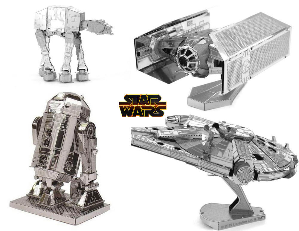 Star Wars Model Building Kits 3D Scale Models DIY Metallic Nano Puzzle Toys 2015 Hot sale Free Shipping Spain Brazil Israel USA(China (Mainland))