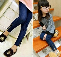 New arrived 1PCS spring baby wear skinny jeans pants girls kids zipper jeans trousers children capri pants clothing