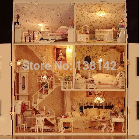 13808 large castle voice light diy dollhouse villa wooden doll house miniatures for decoration toys girls<br>