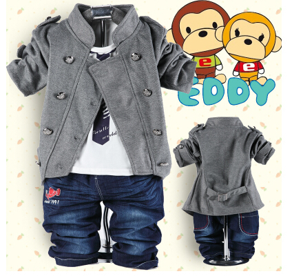 NEW 2015 spring children clothing set baby boys 0-3 years old double-button three-pieces baby set(China (Mainland))