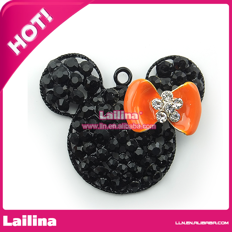 Black yellow bow rhinestone minnie mouse necklace pendant &amp; charm <br><br>Aliexpress