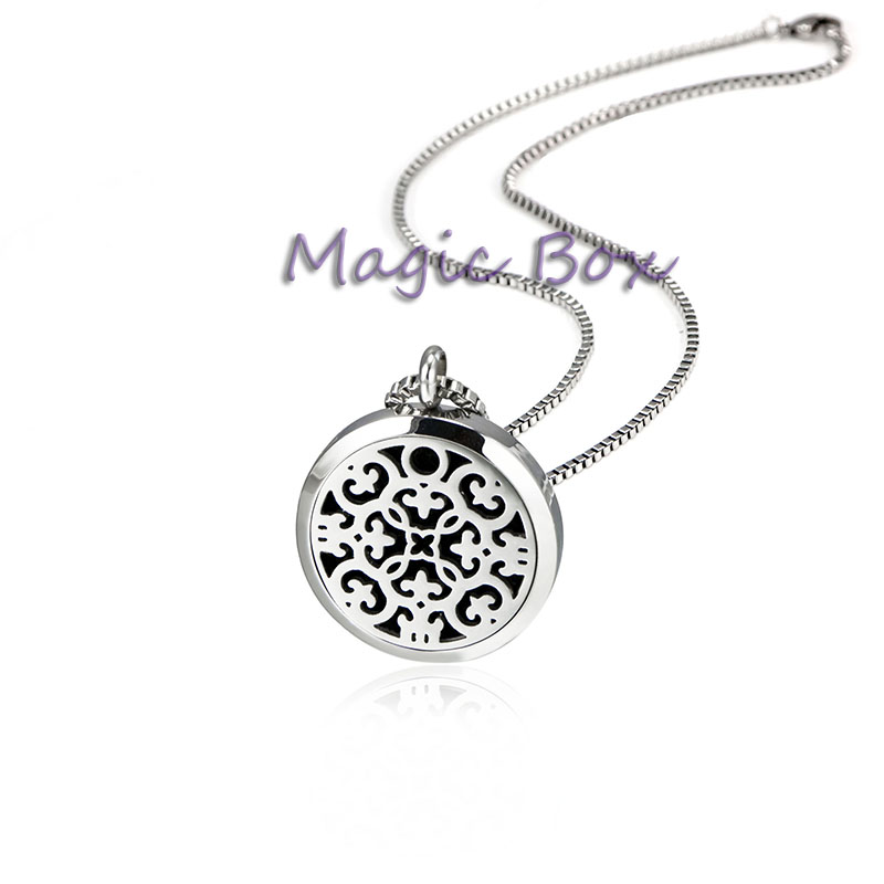 New Arrival Essential Oil Diffuser Perfume Locket Pendant Necklace 30mm Round Aromatherapy Stainless Steel floating locket(China (Mainland))