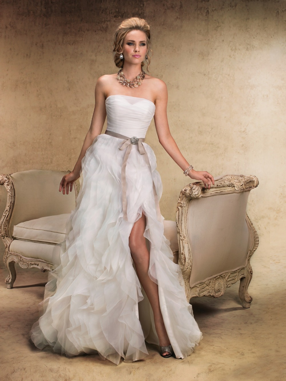Sexy ruched high slit organza wedding dresses 2015 for Sexy strapless wedding dresses