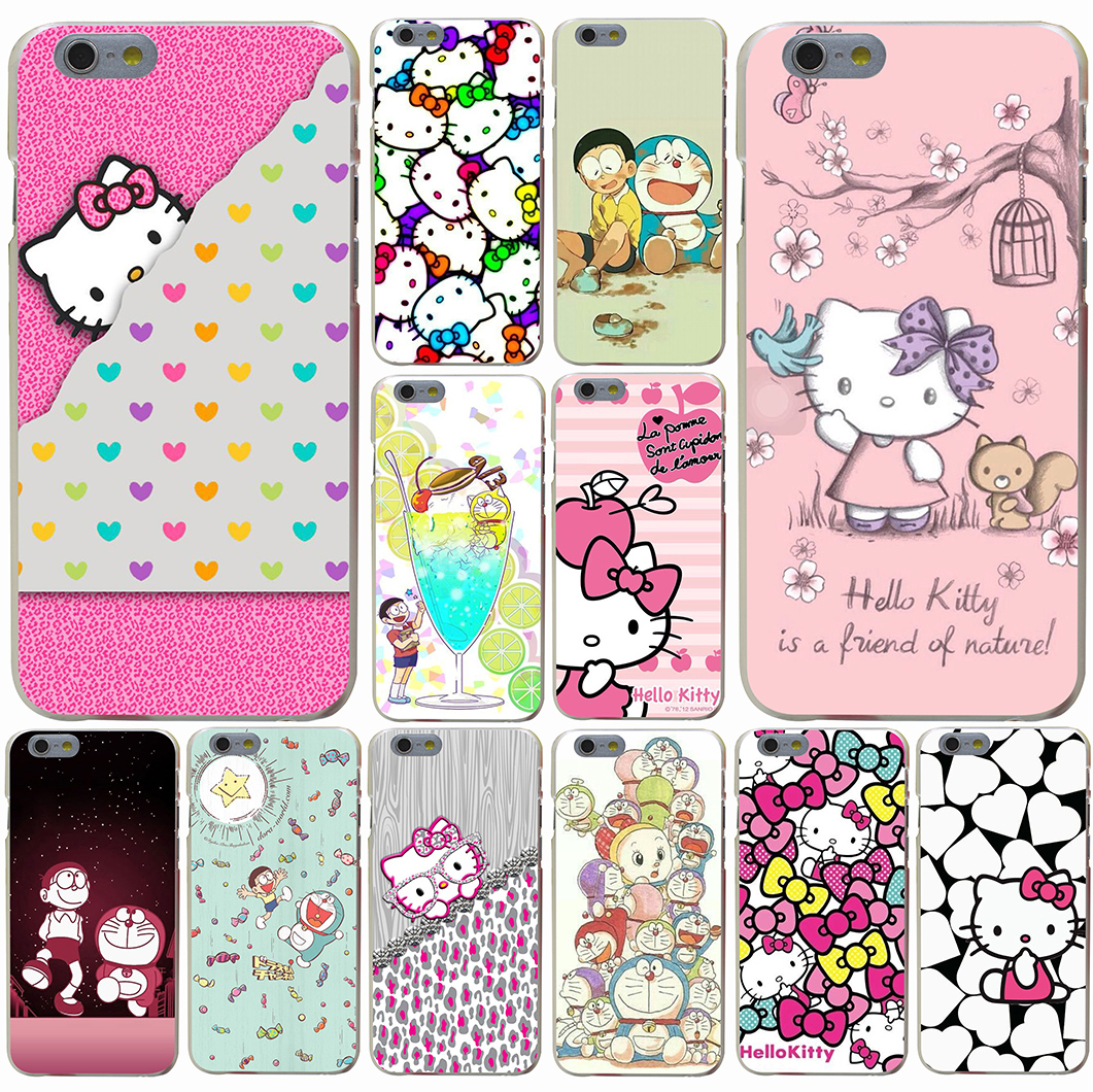 Animation Hello Kitty mobile phone bag Hard Transparent Case for iPhone 7 7 Plus 6 6s Plus 5 5S SE 5c 4 4S(China (Mainland))