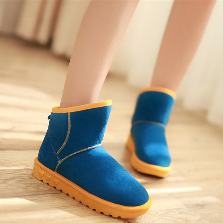 Real Leather 3 Colors Red Blue Black Winter Snow Boots women Warm Long Fur Flats Plus Size Ankle Cotton Shoes Woman - ZHI XIN Shoe Store store