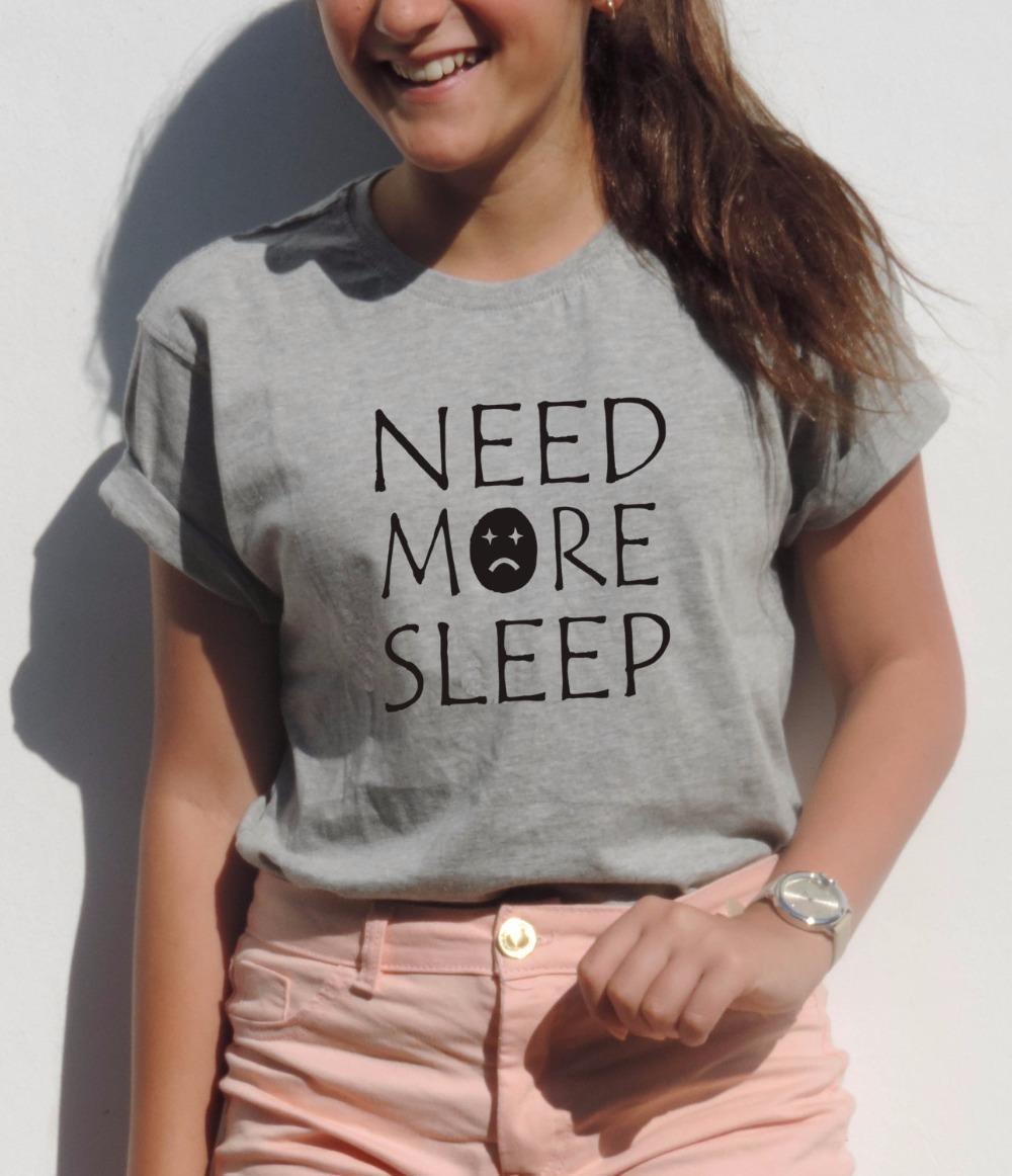 NEED More SLEEP T-Shirt Funny Graphic Tees New Mom Gift Idea Tumblr Women Sexy T Shirt Emoji Top Summer 2016 Letter Tshirt(China (Mainland))